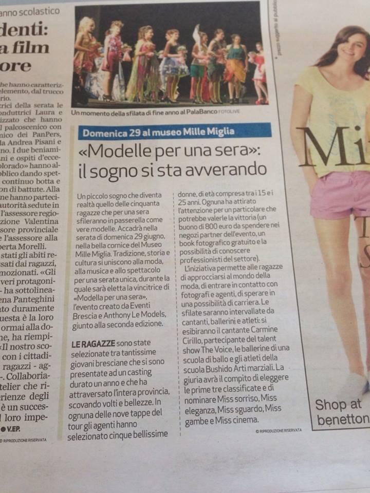 Articolo sul Brescia Oggi